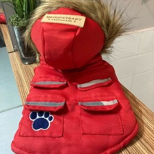 🐶2/$25 Winter Dog coat with faux fur hat and reflective stripes red - Small